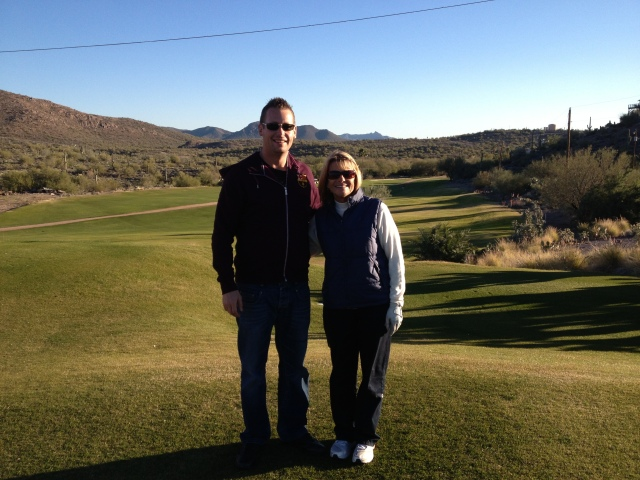 Dan and Mom at Queen Valley Golf Course, Arizona