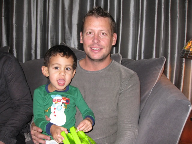 Wyatt and Uncle Dan on Christmas Morning