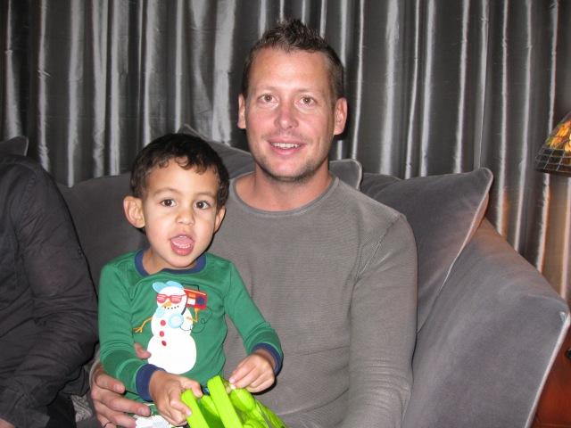 Wyatt and Uncle Dan on Christmas Morning