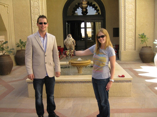 Dan and Rebecca with a falcon