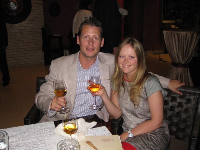 Dan & Becca with one of their favorite wines, Sauternes