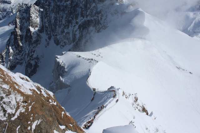View of the Arete from the Aiguille du Midi