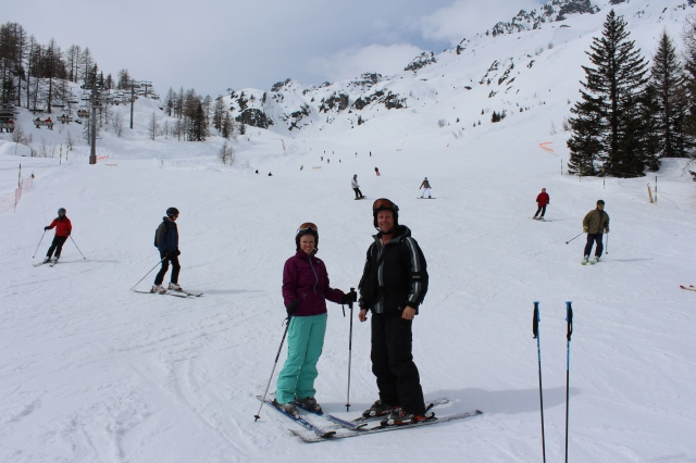 Dan and Rebecca on the slopes of Flegere