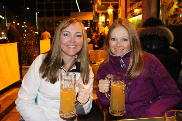 Rebecca and Jen at Les Brasseurs in Geneva