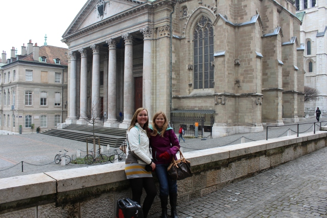 Rebecca and Jen at St-Pierre Cathedral in Geneva