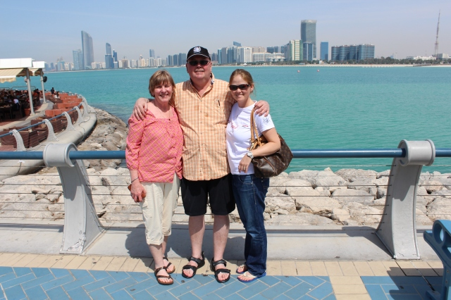 Carole, Barry, and Becca in Abu Dhabi