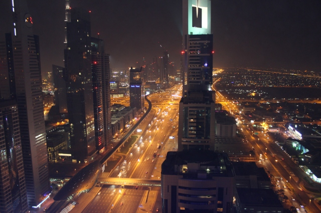 Sheikh Zayed Road from our hotel's rooftop