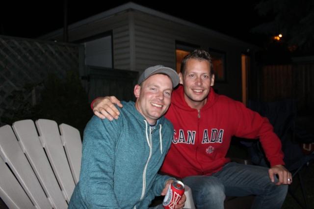 Kev and Dan telling lies in the backyard