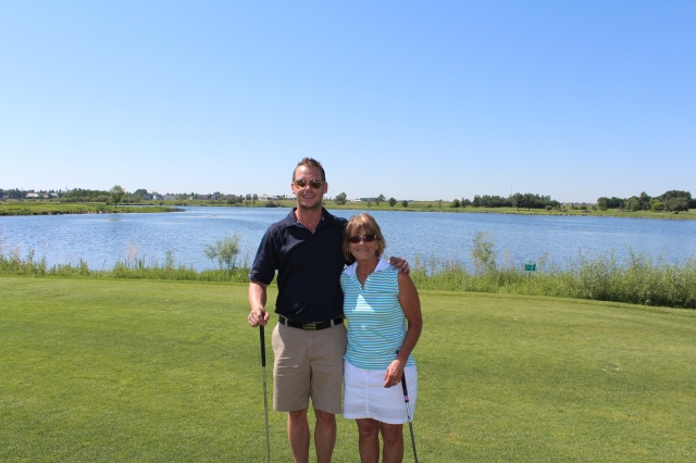Dan and Mom on 1st Tee at Strathmore Golf Club