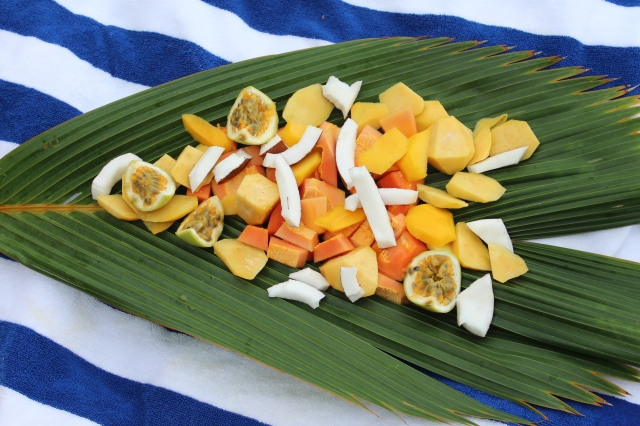 Beach snack of Seychelles fruits