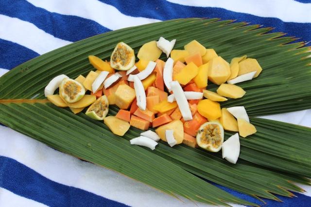 Beach snack of Seychelles fruits