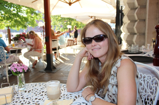 Becca having a coffee at the Bosco Café in the Red Square