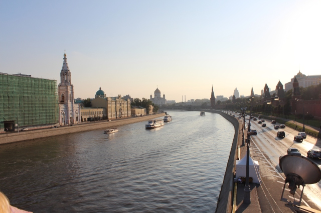 Moskva River with the Kremlin walls on the right
