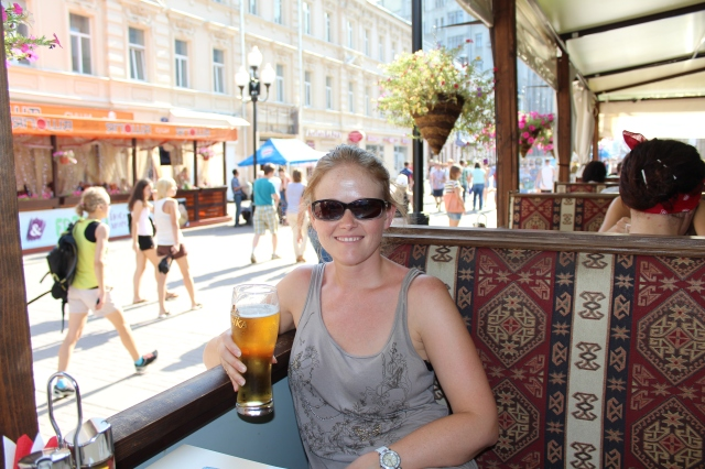 Rebecca enjoying a beer on Arbat Street