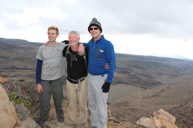 Acclimatization hike above Moir Hut Camp with Russ and Jim