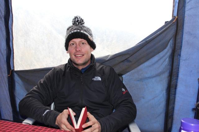 Dan in the mess tent