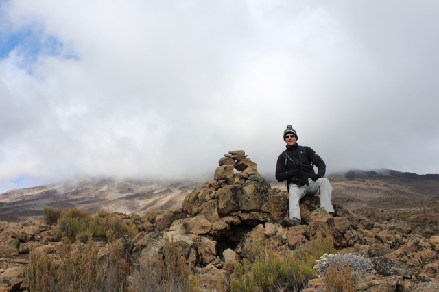 Dan by one of many cairns