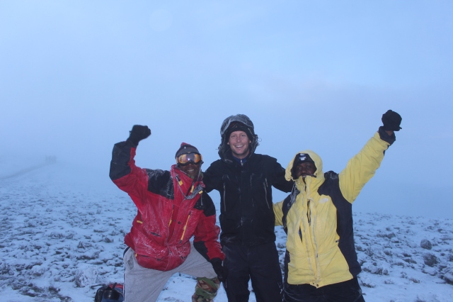 Victor-Mahlia, Dan, and Frank-Machami at Uhuru Peak, 5895m