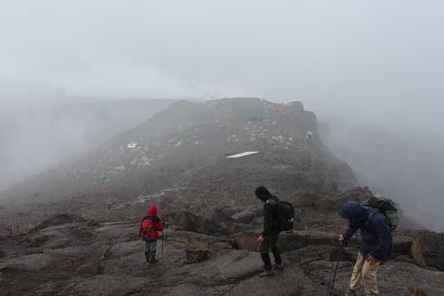 Descending into Barafu in snow and rain