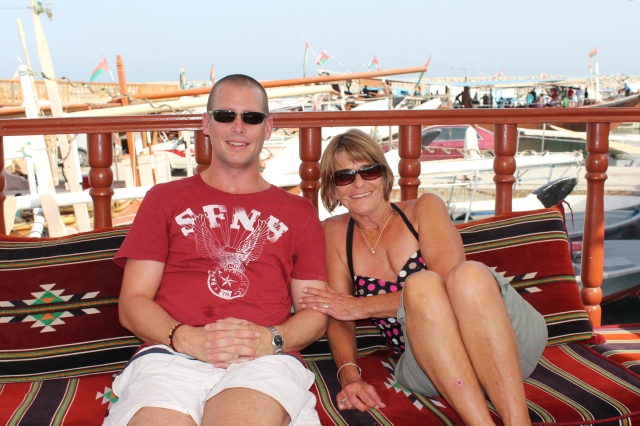 Judy and Dan on the top deck of the dhow