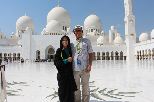 Judy and Vern at Sheikh Zayed Grand Mosque