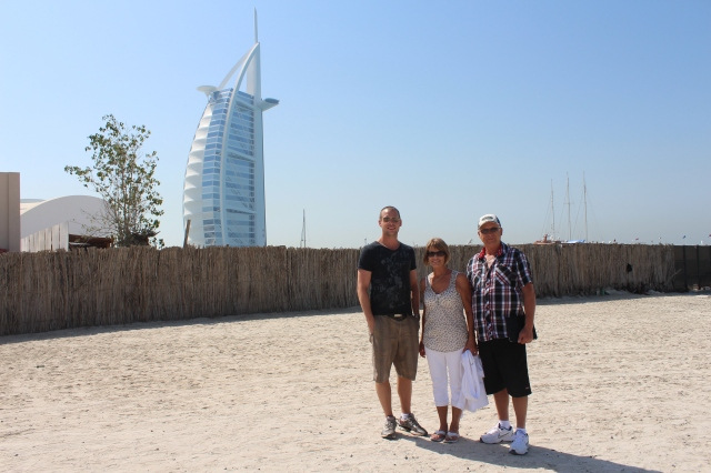 On the beach in Dubai with Burj al Arab in the background