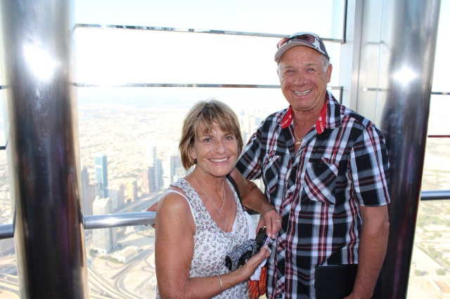 """Judy and Vern on the """"At the Top"""" tour of the Burj Khalifa"""