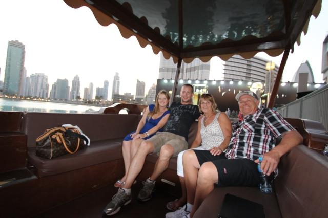 The Gang in the boat on the Dubai Mall Pond