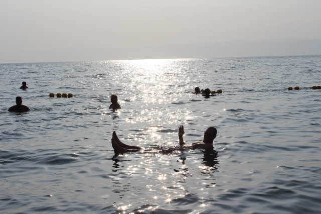 Dan bobbing around in the Dead Sea