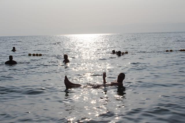 Dan bobbing around in the Dead Sea