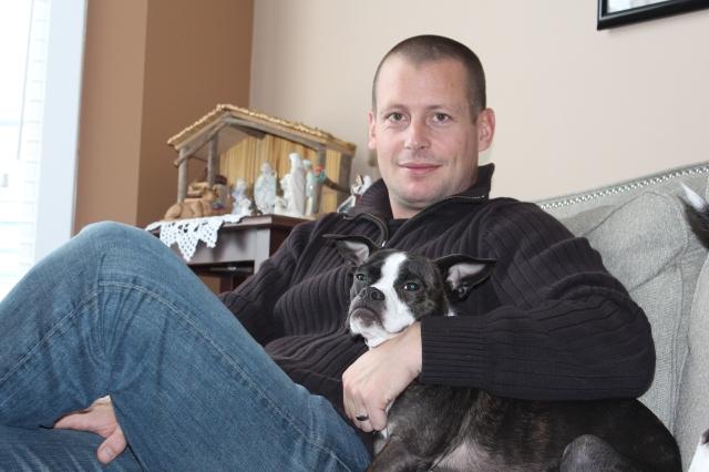 Dan hanging with Paige's dog Nova