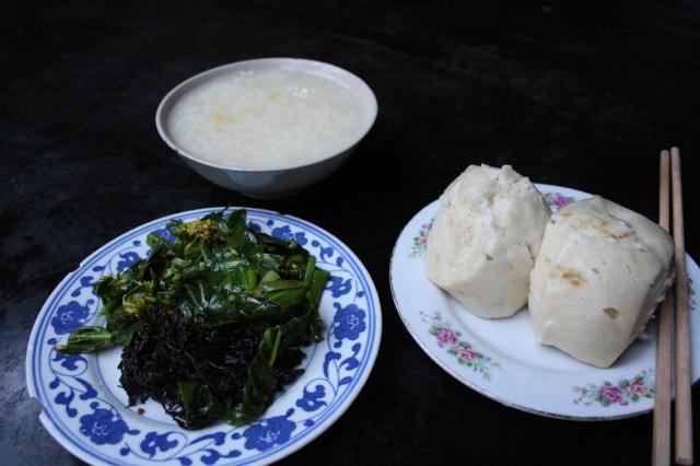 Vegetarian breakfast at the monastery