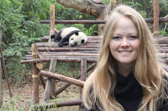Becca hanging with the Panda's