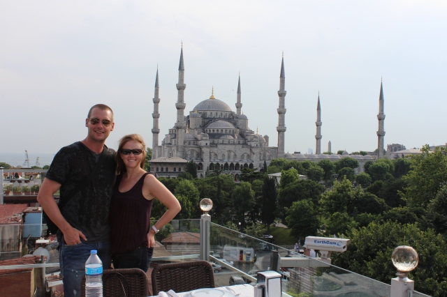 Dan and Bec with Sultanahmet Mosque behind