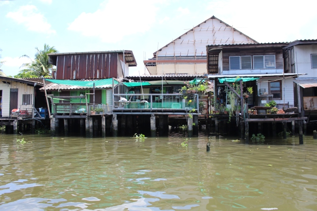 Homes on stilts on Bangkok's canal system
