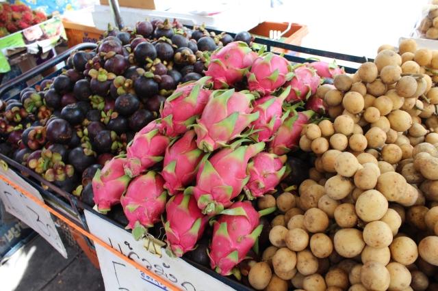 Mangosteen, dragonfruit, and salak