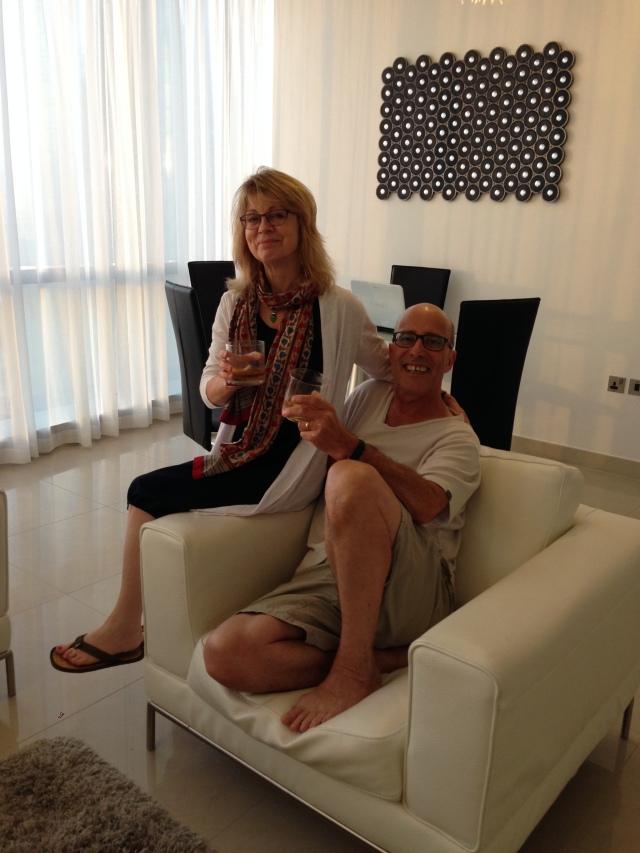 Steve and Sue enjoying a Scotch in Abu Dhabi
