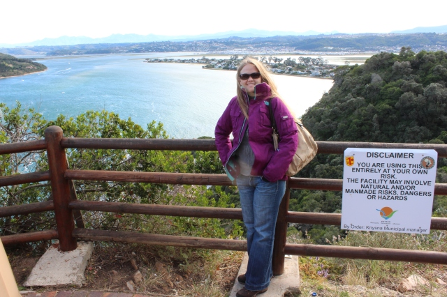 Rebecca on Eastern Headland with Knysna Lagoon and town behind