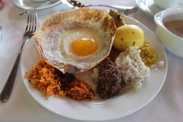 Egg hopper and pittu breakfast at Heritance Kandalama