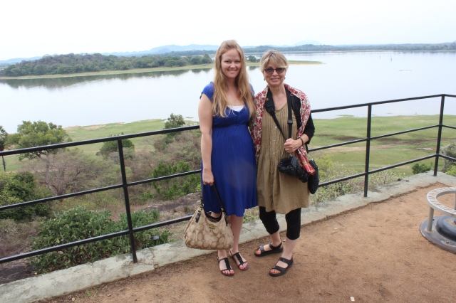 Bec and Susan with Kandalama Reservoir