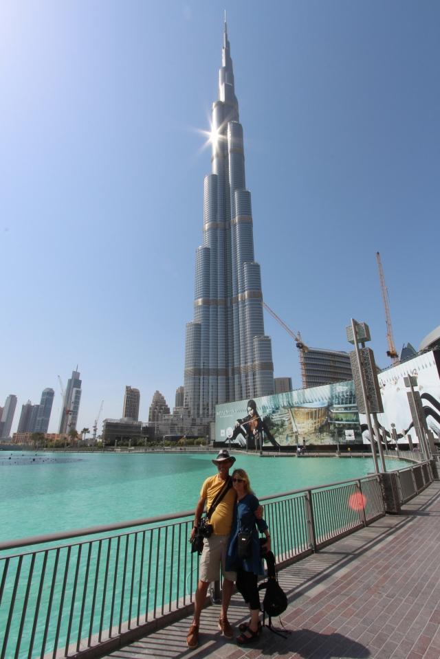 Uncle Steve and Auntie Susan under the Burj Khalifa