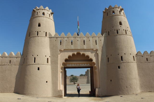 Becca at gates of Al Jahili Fort