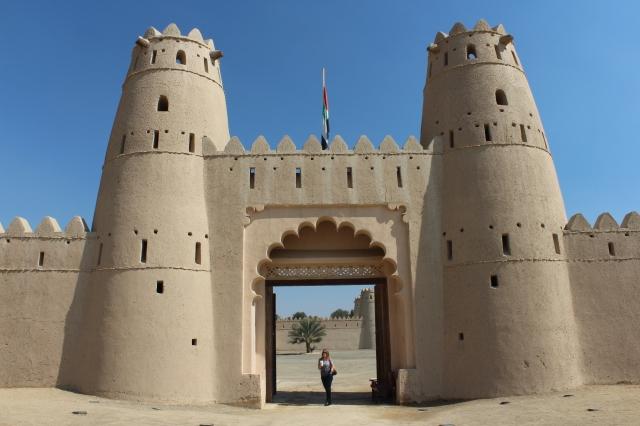 Becca at gates of Al Jahili Fort