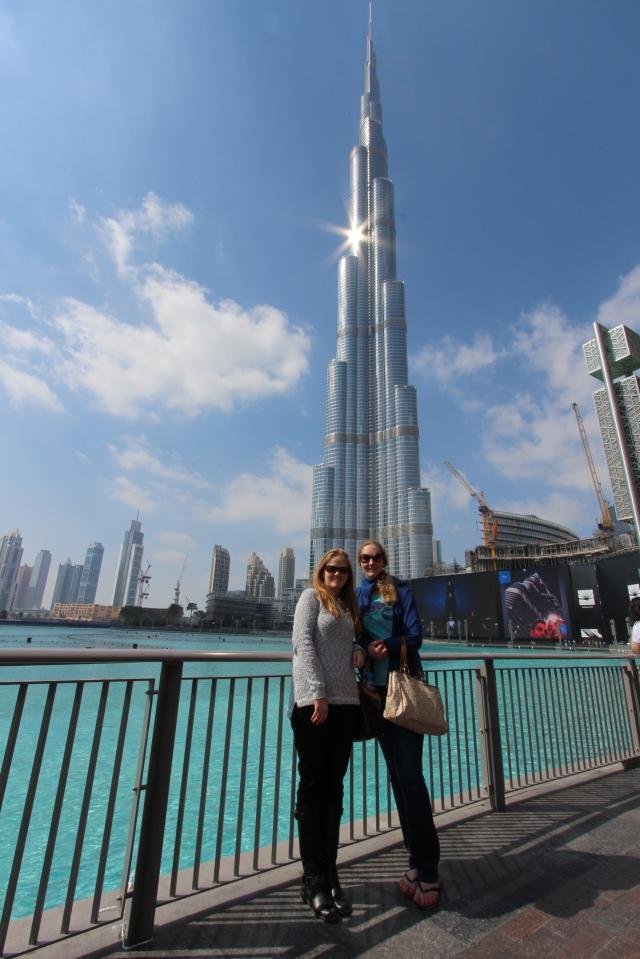 Paige and Bec under the Burj Khalifa