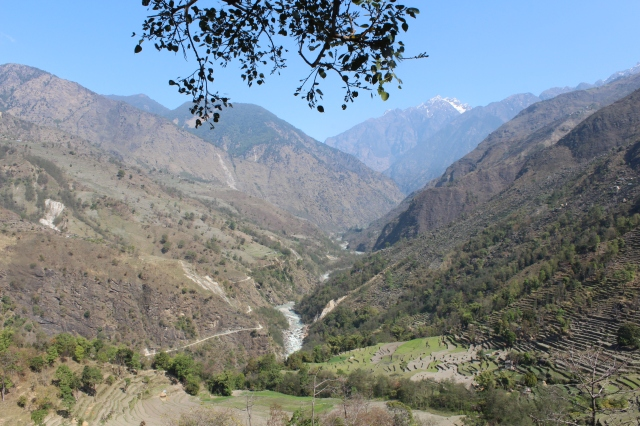 View up the Marshyangdi Valley