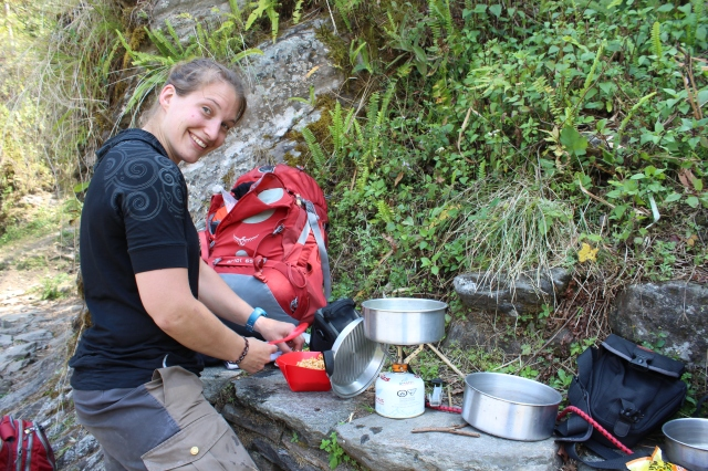 Hanna preparing some noodles on the trail