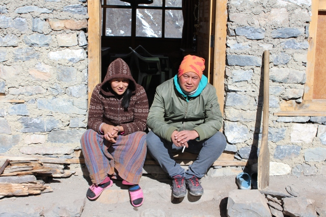 Owner of Snowland Hotel, Karma, and his wife