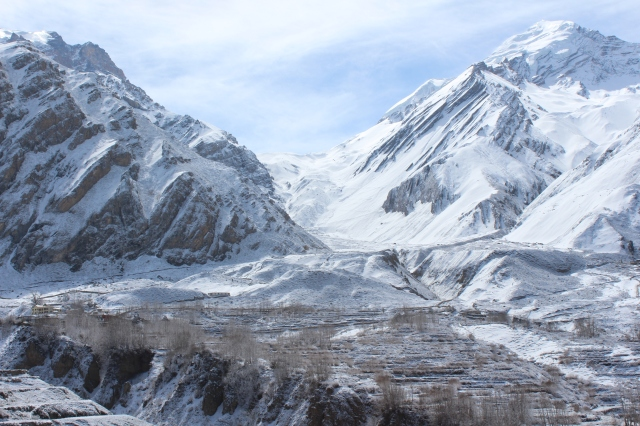 Muktinath and surrounds with Thorong La in the back