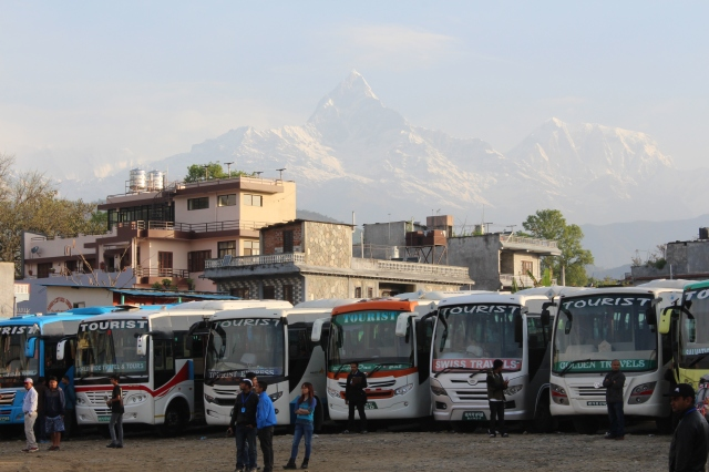 Pokhara bus park with Machhapuchchhre in the background