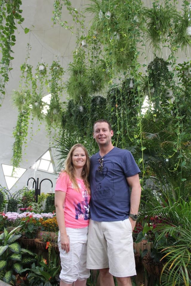 Bec and Dan at Dubai Miracle Garden